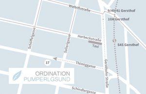 Anfahrtsplan zur Ordination von Dr. Ingrid Rapatz, 1180 Wien, Timiggasse 17 - Pumperlgsund/nu:media